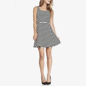Express Striped Ponte Knit Fit And Flare Dress XS